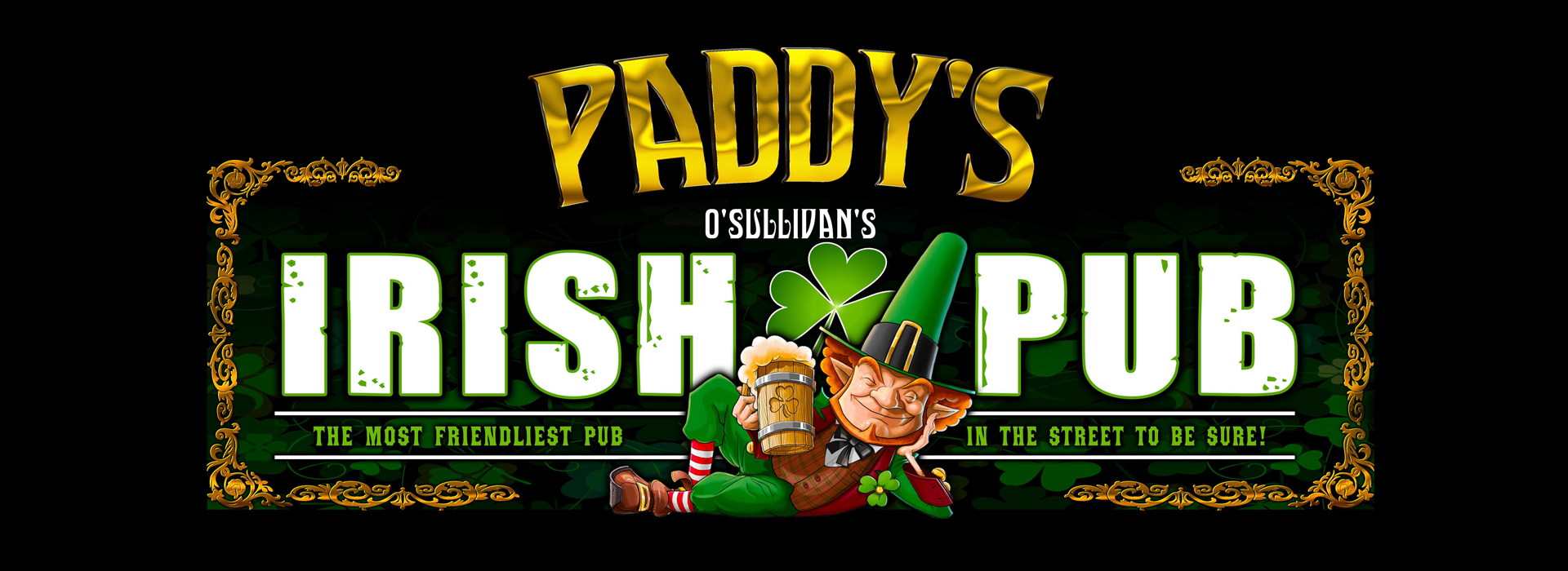 Paddy's Irish Pub with leprechaun