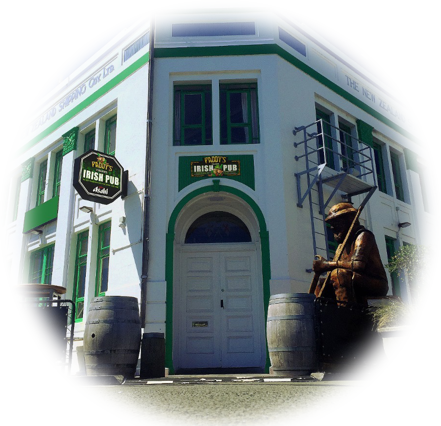 Paddy's Irish Pub building in Ahuriri, Napier, viewed from outside